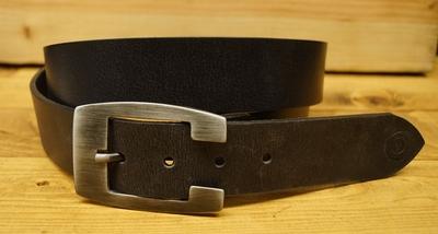 "Leren jeans riem zwart  "" Vittozzi 853 ""   4 cm breed"