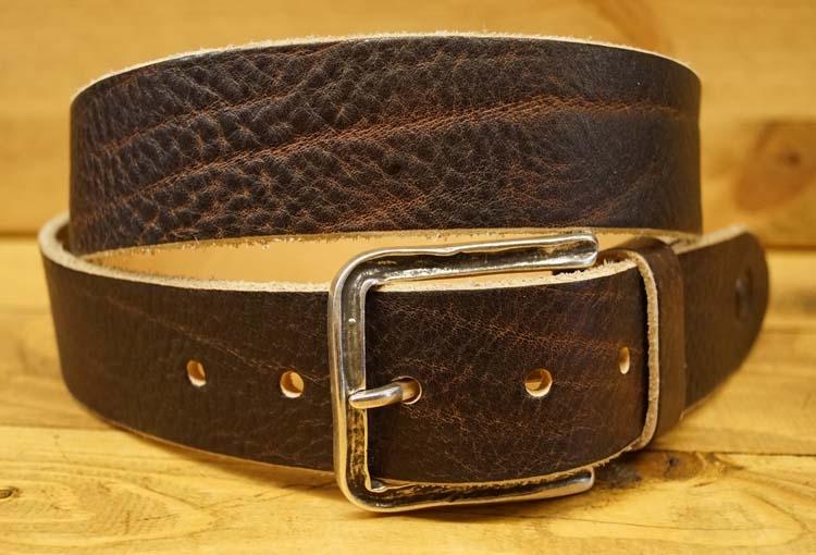 """Leren jeans riem  """"  Bruin met structuur  398  """" 4 cm breed"""